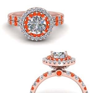 14K Rose Gold Orange Topaz With Diamond Ring