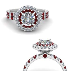 Ruby Band Halo Ring