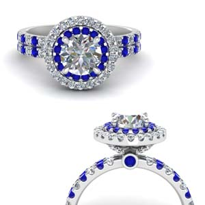 Double Band Round Halo Diamond Ring