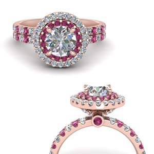 Round Diamond Ring With Pink Sapphire