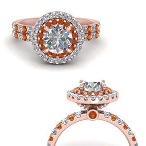 14K Rose Gold Orange Sapphire Diamond Ring