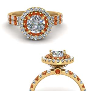 Orange Sapphire Hidden Halo Ring