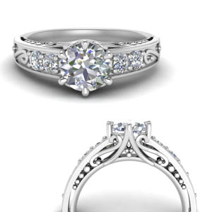 Moissanite Round Filigree Ring