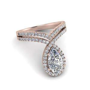 2 Ct. Halo Pear Diamond Ring
