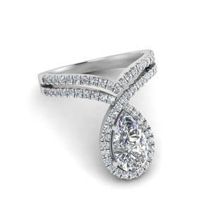 Platinum Curved Halo Diamond Ring