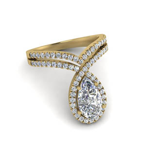 Unique Halo Pear Diamond Ring