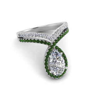 Pear Cut Halo Emerald Ring