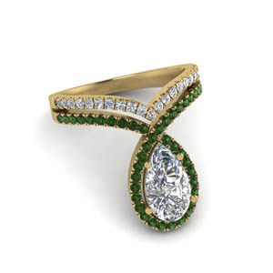 Pear Diamond Two Row Ring