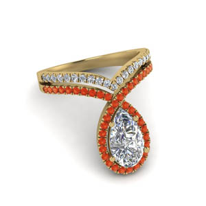 Halo Ring With Orange Topaz