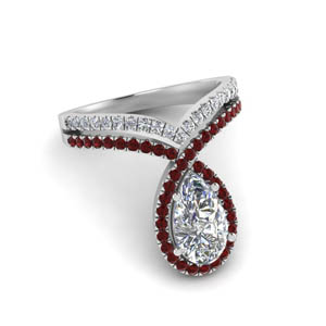 Curved Halo Ring With Ruby