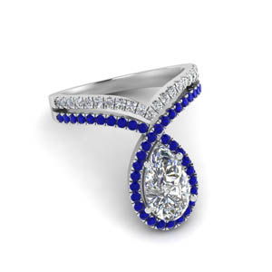 Sapphire Pear Halo Ring