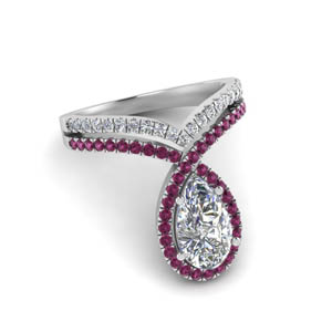 pear shaped curve halo diamond engagement ring with pink sapphire in white gold FD9144PERGSADRPIANGLE1 NL WG