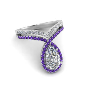 Purple Topaz Curved Halo Ring