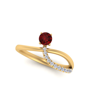 Offbeat Thin Pave Ruby Engagement Ring