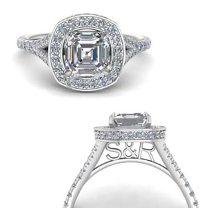 Personalized Under Halo Asscher Cut Ring