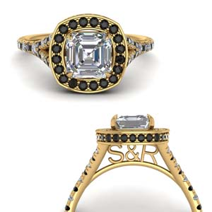 Black Diamond Rings With Asscher
