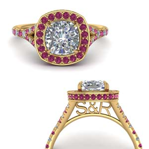 Personalized Pink Sapphire Halo Ring