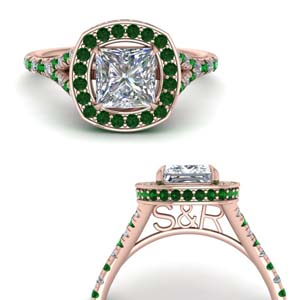 Beautiful Halo Emerald Ring