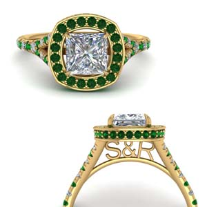 Hidden Halo With Emerald Ring