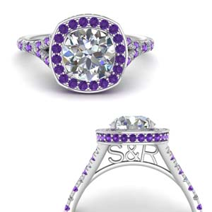 Round Diamond Purple Topaz Ring