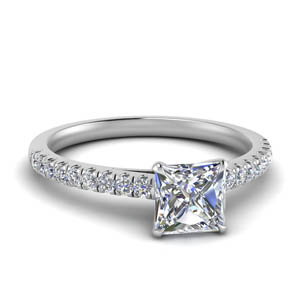 u prong thin princess cut diamond engagement ring in FD9154PRR NL WG