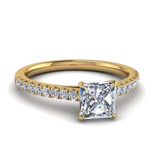 Princess Cut Thin Diamond Ring