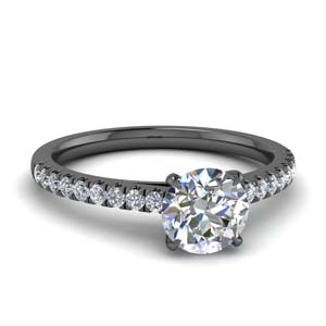Thin Diamond U Prong Ring