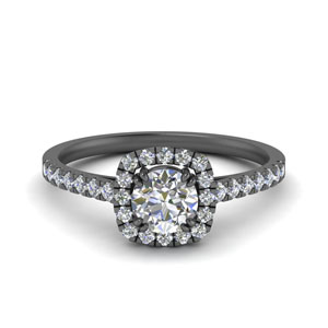 French Pave Square Halo Ring