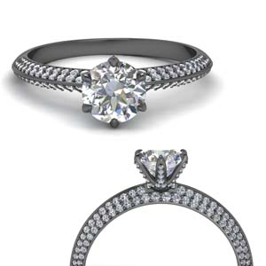 Knife Edge Pave Diamond Ring