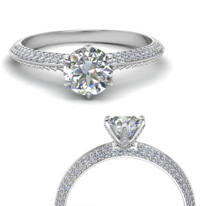 18K White Gold 2 Row Diamond Ring