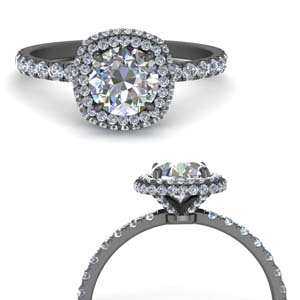 Under Halo Square Diamond Ring