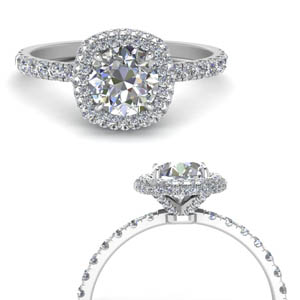 Square Petite Under Halo Diamond Ring