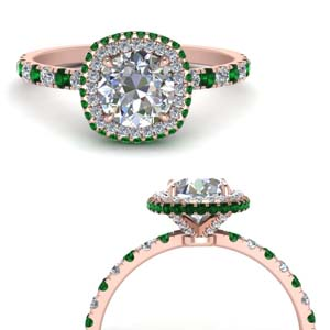 Petite Emerald Square Halo Ring