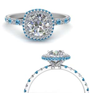 Platinum Halo Ring With Topaz