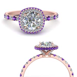 French Prong Under Halo Ring