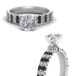 High Set Two Row Black Diamond Ring