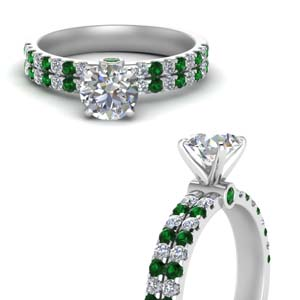 Two Row Engagement With Emerald Ring