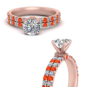 Orange Topaz High Set Diamond Ring