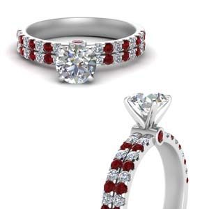 Classic 2 Row Ruby Ring
