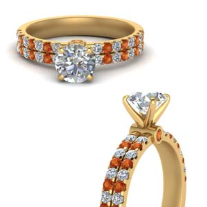 Orange Sapphire 2 Row Diamond Ring