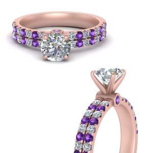 Purple Topaz 2 Row Engagement Ring