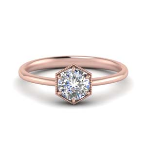 Round Diamond Hexagon Solitaire Ring