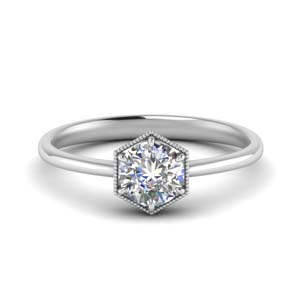 Round Cut Hexagon Solitaire Ring