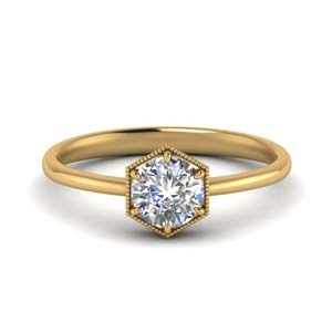 Single Stone Moissanite Ring 14K Yellow Gold