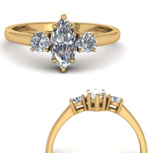Basket 3 Stone Engagement Ring