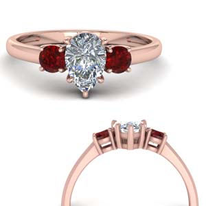 3 Stone Engagement Ring With Ruby