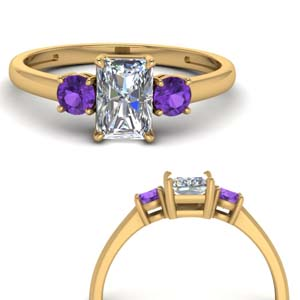Purple Topaz Ring 3 Stone