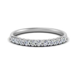 14K White Gold Round Diamond Band