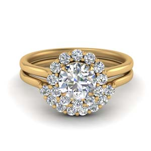 Halo Diamond Ring And Band