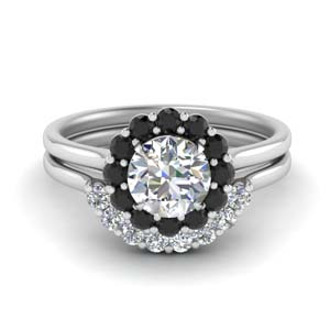 Floral Halo Black Diamond Bridal Set